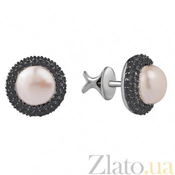 Серебряные серьги-пуссеты с белым жемчугом и чёрными фианитами Зефир 000027219