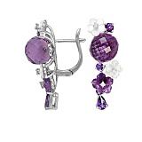 Золотые серьги с аметистами, топазами, перламутром и бриллиантами Фиолет