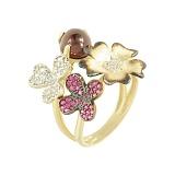 Золотое кольцо с рубинами и фианитами Весна