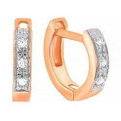 Серебряные серьги с позолотой и цирконием  000039799