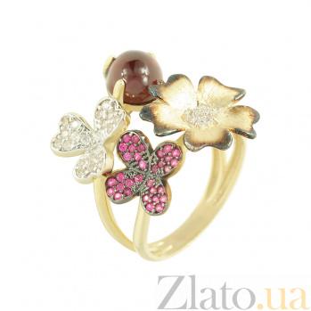 Золотое кольцо с рубинами и фианитами Весна 2К765-0029