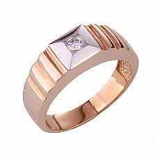 Золотое кольцо-печатка с фианитом Элвин