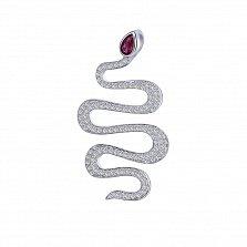 Серебряный кулон Блистающая змея с рубиновым и белым цирконием