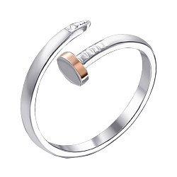 Серебряное кольцо в комбинированном цвете с цирконием в стиле Картье 000140392