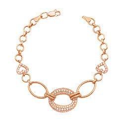 Золотой браслет Оригинальность со звеньями разной формы и размера и фианитами