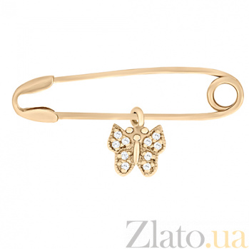 Золотая булавка Бабочка с фианитами SVA--6101346101/Фианит/Цирконий