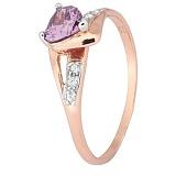 Позолоченное серебряное кольцо с фиолетовым цирконием Страстная любовь