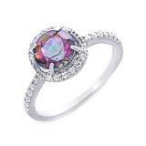 Серебряное кольцо с натуральным мистик топазом Электра