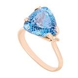 Золотое кольцо с голубым топазом Сандра