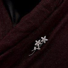 Серебряная брошь Два цветочка с фианитами