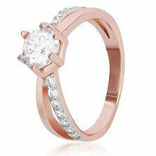 Серебряное кольцо Айдол с фианитами и позолотой