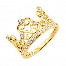 Золотое кольцо Корона в желтом цвете с фианитами