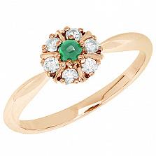 Золотое кольцо Цветение с изумрудом и бриллиантами