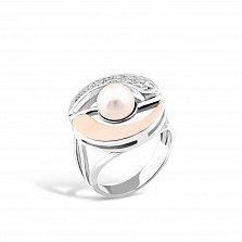 Серебряное кольцо Ярослава с золотыми накладками, жемчугом и фианитами