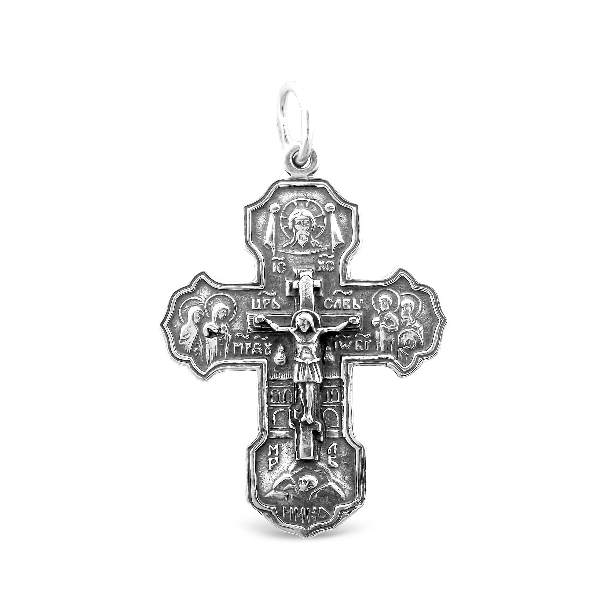 Серебряный крестик Царь Славы