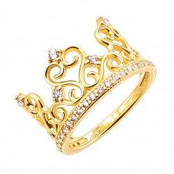 Кольцо-корона из желтого золота с фианитами 000123226