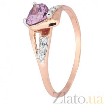 Позолоченное серебряное кольцо с фиолетовым цирконием Страстная любовь 000028197