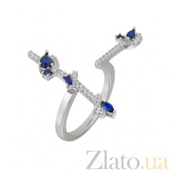 Серебряное кольцо Консепта с синими и белыми фианитами 000081528