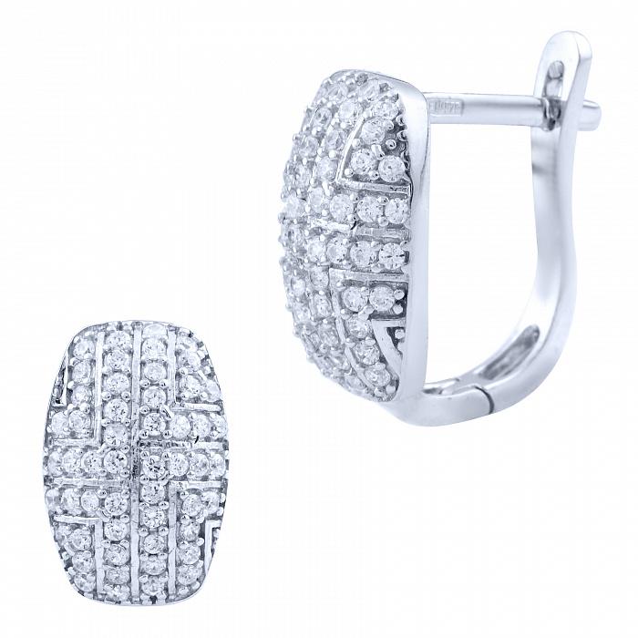 Серебряные серьги Атланта с геометрическими узорами и белыми фианитами 000077872