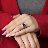 Серебряное кольцо Атлантида с синим альпинитом и фианитами