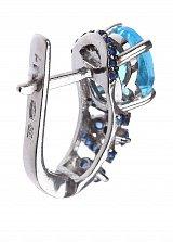 Серебряные серьги Клеменсия с голубым кварцем и синими фианитами