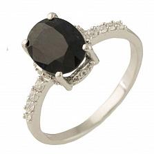 Серебряное кольцо Маддалена с сапфиром и фианитами