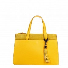 Кожаная деловая сумка Genuine Leather 8914 желтого цвета на молнии, с декоративной кистью