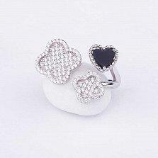 Серебряное кольцо Мэрибель с ониксом и фианитами в стиле Ван Клиф
