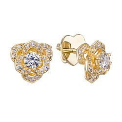 Серьги-пуссеты из желтого золота с бриллиантами 000131477
