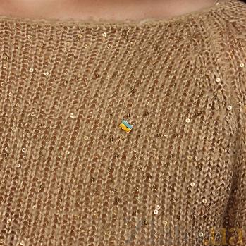 Золотая булавка Флаг Украины с цветной эмалью LEL--09023