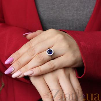 Серебряное кольцо Атлантида с синим альпинитом и фианитами PTL--7к704/16