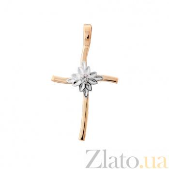 Золотой декоративный крестик Хризантема в комбинированном цвете с бриллиантом VLA--36120
