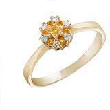 Кольцо из желтого золота Сусанна с цитринами и бриллиантами
