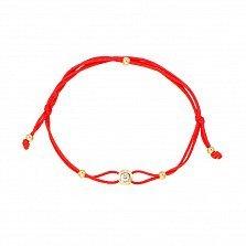 Браслет из шелковой нити и красного золота с фианитом 000129115