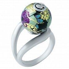 Серебряное кольцо Ночной цветок с эмалью