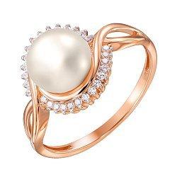 Золотое кольцо Идиллия в красном цвете с жемчугом и фианитами