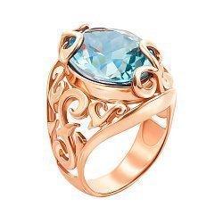 Узорное кольцо из красного золота с голубым топазом 000131328
