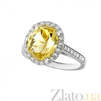 Золотое кольцо с цитрином и бриллиантами Незнакомка 000029660