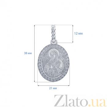 Серебряная ладанка с фианитами Семистрельная 000027071