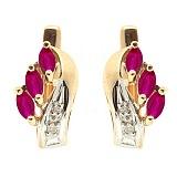 Золотые серьги с бриллиантами и рубинами Марина