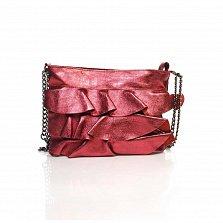 Кожаный клатч Genuine Leather 6504 бордового цвета с декоративными оборками и плечевым ремнем