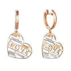 Золотые серьги-подвески My love в комбинированном цвете с сердечками и надписями 000117522