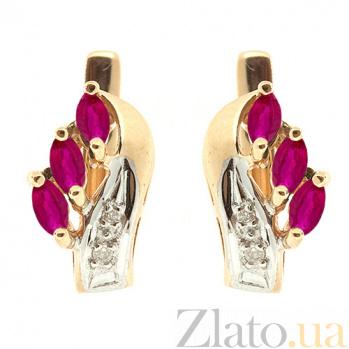 Золотые серьги с бриллиантами и рубинами Марина ZMX--ER-112_K