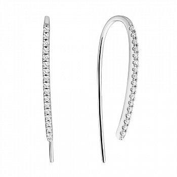 Серебряные серьги-протяжки с фианитами 000114054