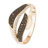 Кольцо в красном золоте Волна с бриллиантами