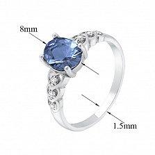 Серебряное кольцо Гелена с синим кварцем и белыми фианитами