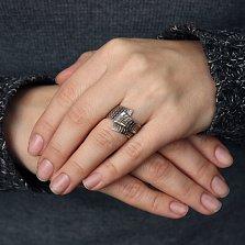 Серебряное кольцо Шарф в клеточку с чернением