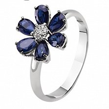Золотое кольцо с бриллиантом и сапфирами Скарлетт
