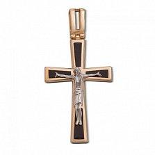 Золотой крестик Прощение с черной эмалью