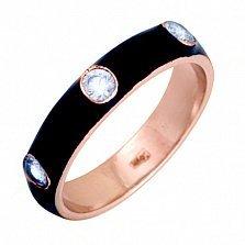 Золотое кольцо Пастель с фианитами и эмалью чёрного цвета